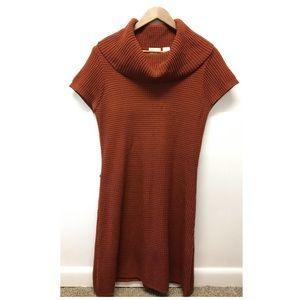 Allison Britney | Dark Orange Cowl Neck Knit Dress